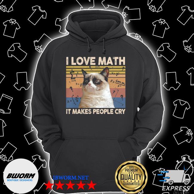 Cat I love math it makes people cry vintage Unisex Hoodie