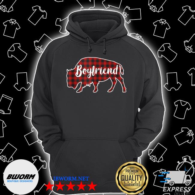 Boyfriend bison buffalo red plaid christmas pajama family Unisex Hoodie