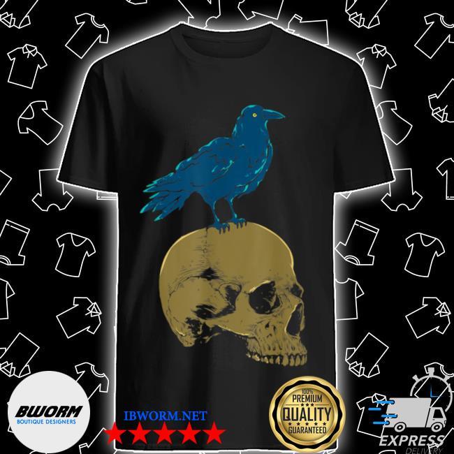 Creepy skeleton raven viking animal bird spooky skull crow shirt
