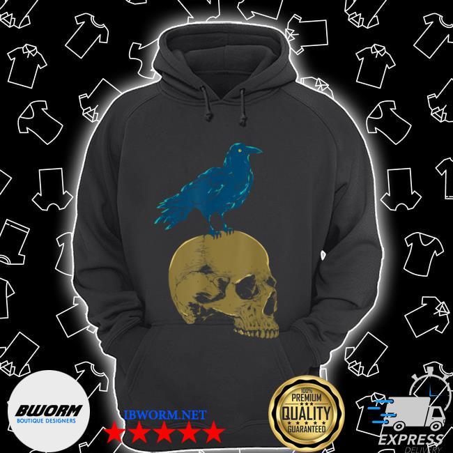 Creepy skeleton raven viking animal bird spooky skull crow Unisex Hoodie