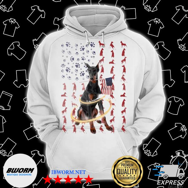 Doberman pinscher with flag Classic Hoodie