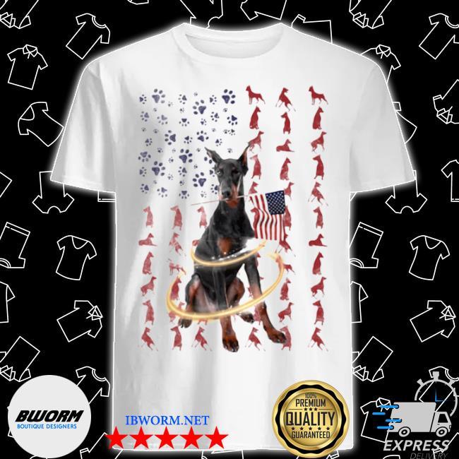 Doberman pinscher with flag shirt
