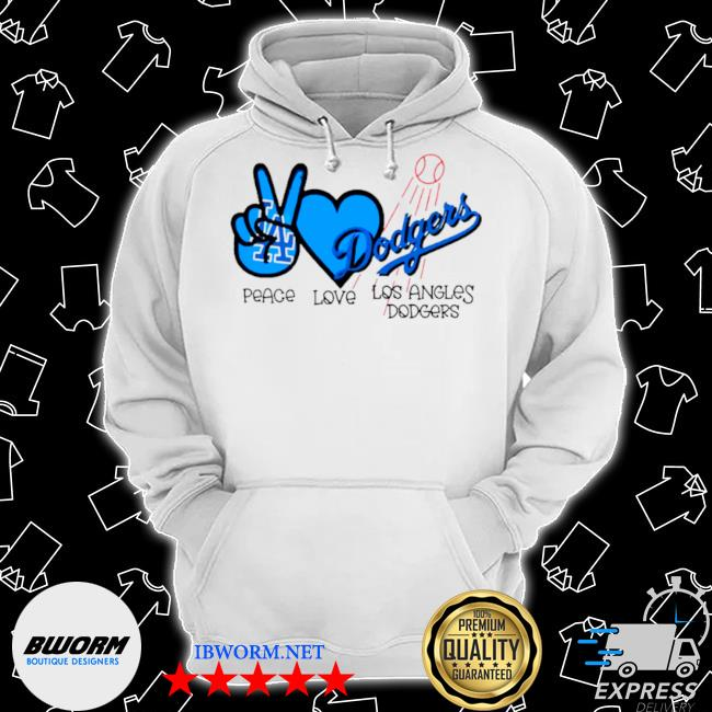 Mlb peace love los angeles Dodgers Classic Hoodie