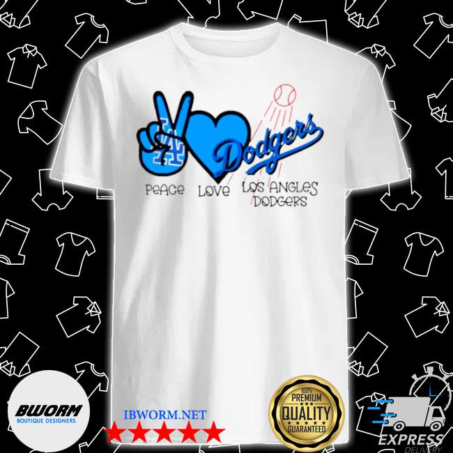 Mlb peace love los angeles Dodgers shirt
