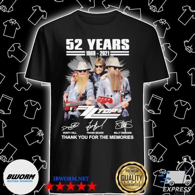 52 years 1969 2021 dusty hill and frank beard billy gibbons thank you for the memories shirt