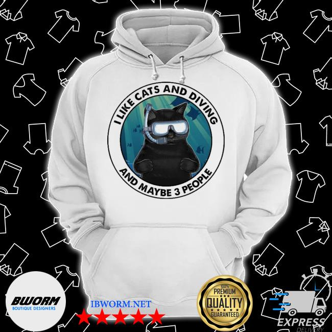 Black cat I like cats and diving and maybe 3 people s Classic Hoodie