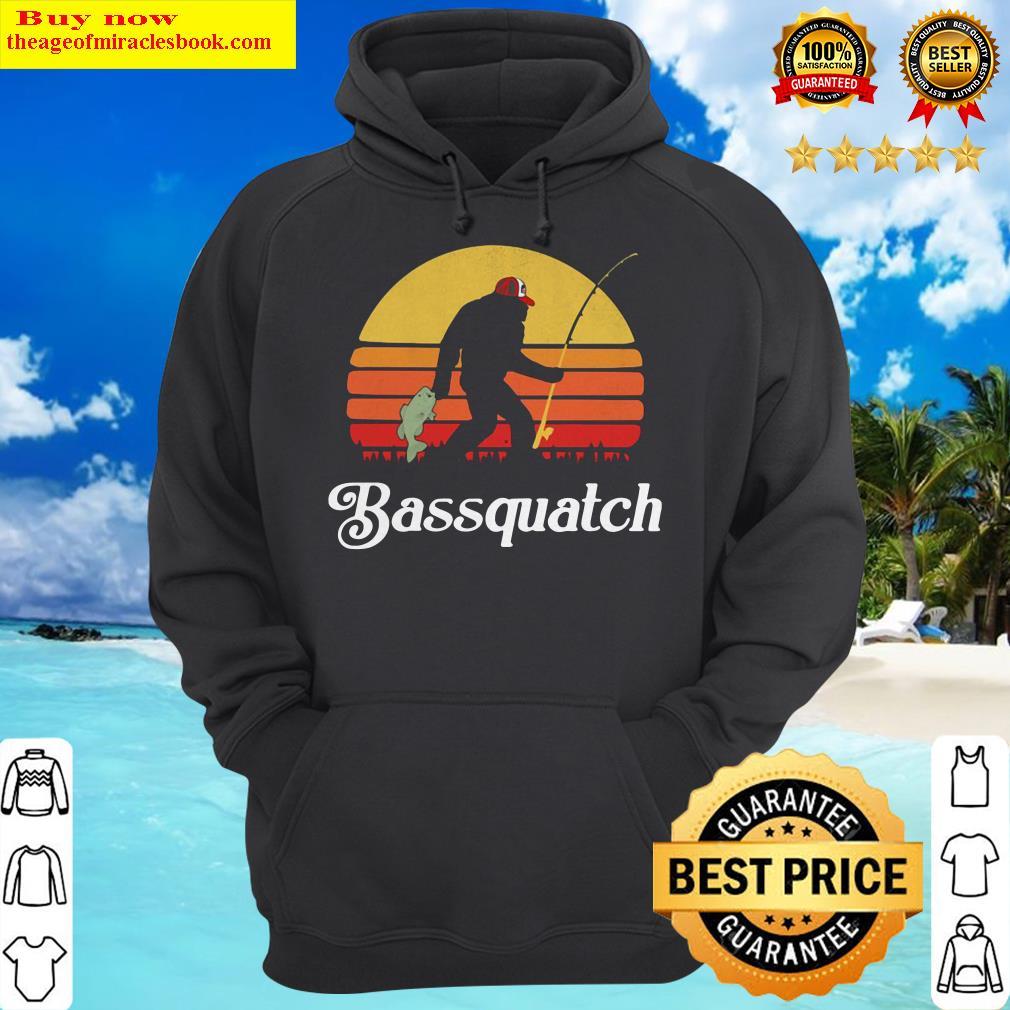 Bigfoot Fishing Bassquatch Sunset Hoodie