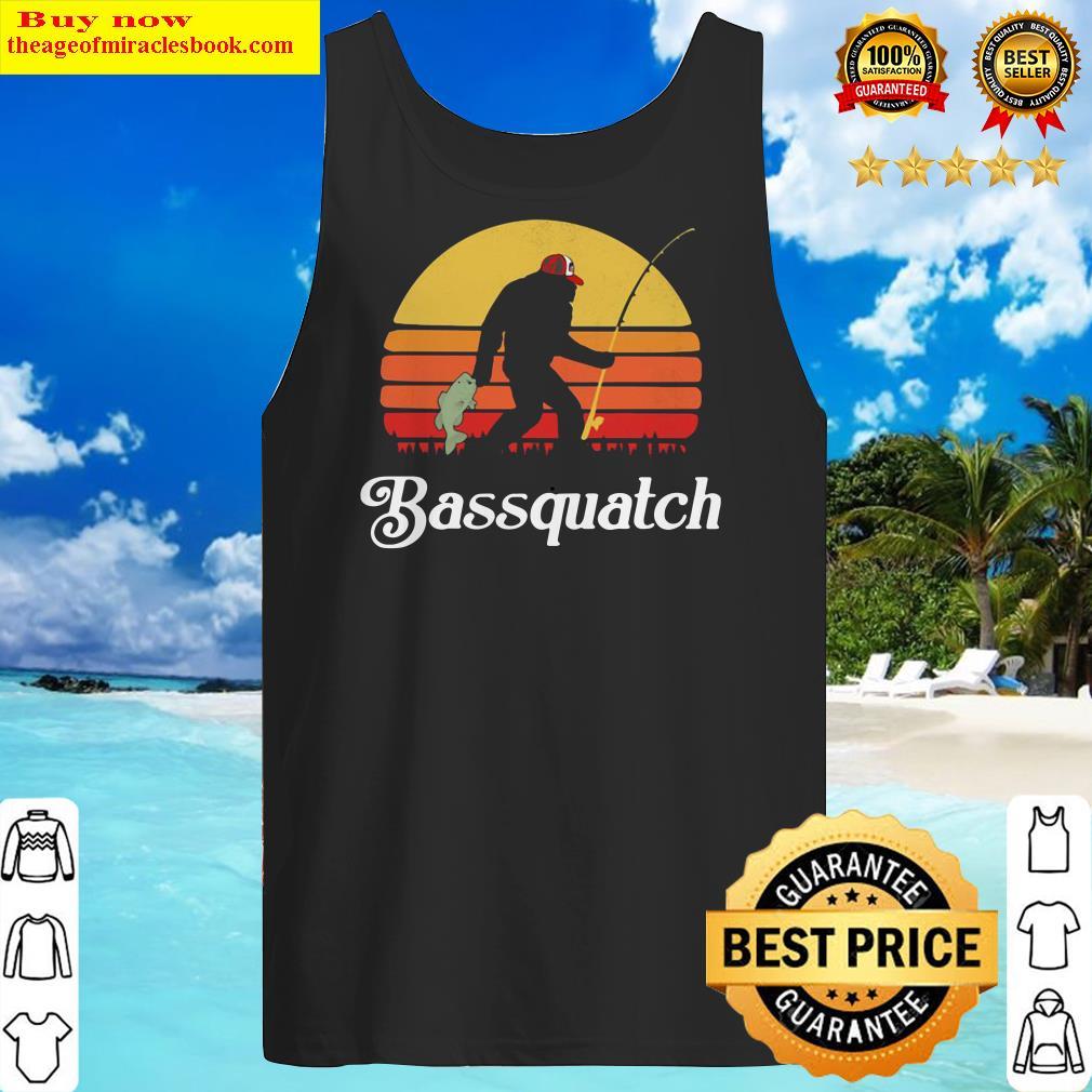 Bigfoot Fishing Bassquatch Sunset Tank Top