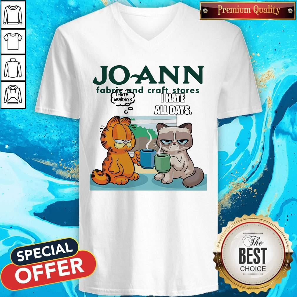 Joann Fabric and Craft Stores Grumpy Cat and Garfield I Hate All Days V-neck