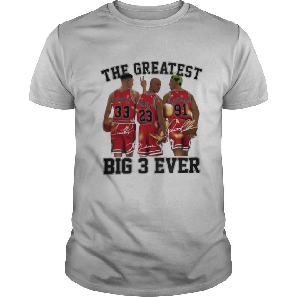 The greatest big 3 ever pippen jordan rodman chicago bulls signatures shirt