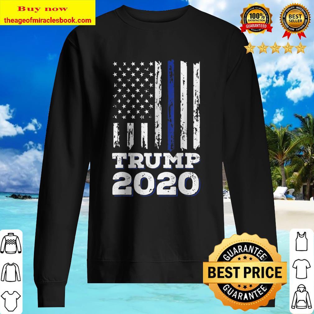 Thin Blue Line Shirt Police American Flag Maga Trump 2020 Ver2 Sweater