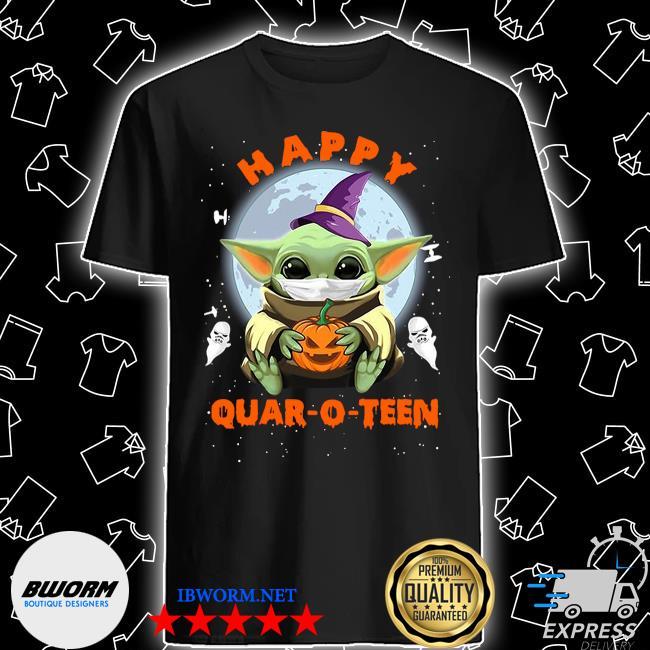 Baby yoda face mask hug pumpkin happy quarantine Quar-O-Teen shirt
