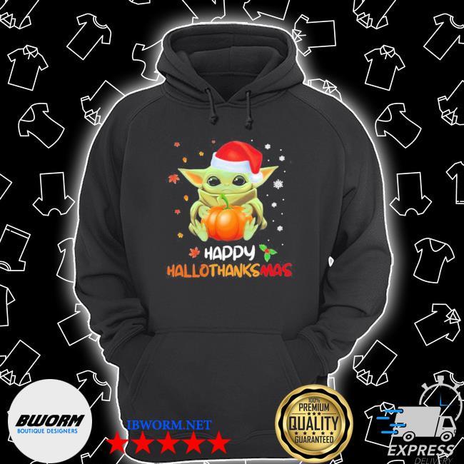 Baby yoda hug pumpkin happy hallothanksmas s Unisex Hoodie
