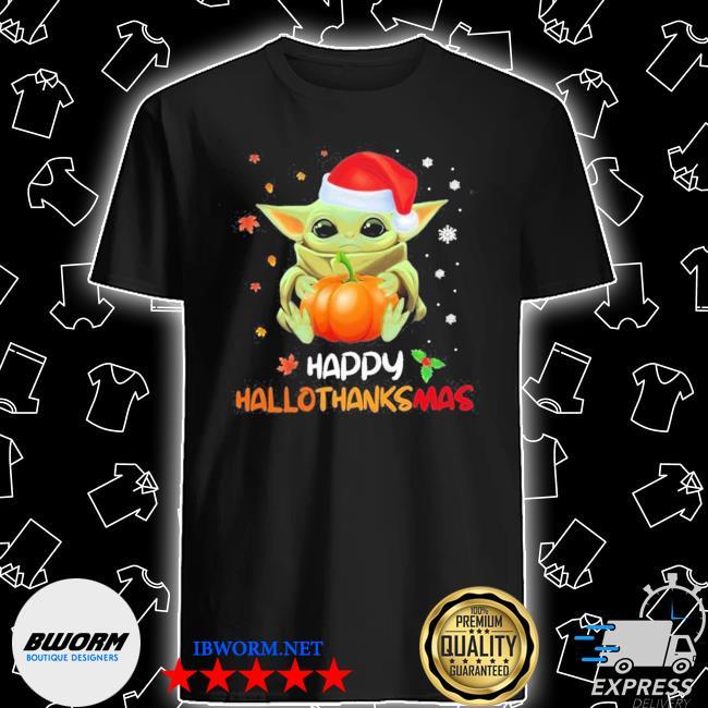 Baby yoda hug pumpkin happy hallothanksmas shirt