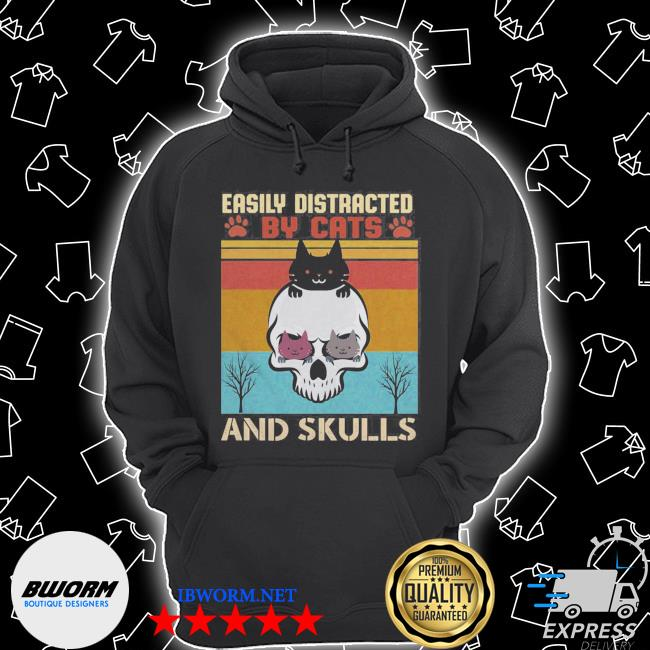 Easily distracted by cats and skulls day of the dead vintage s Unisex Hoodie