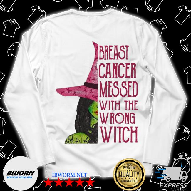 Pink witch breast cancer messed with the wrong witch s Long Sleeve Tee