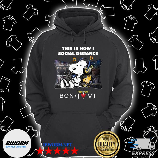 Snoopy and Woodstock this Is how I social Distance Bon Jovi s Unisex Hoodie