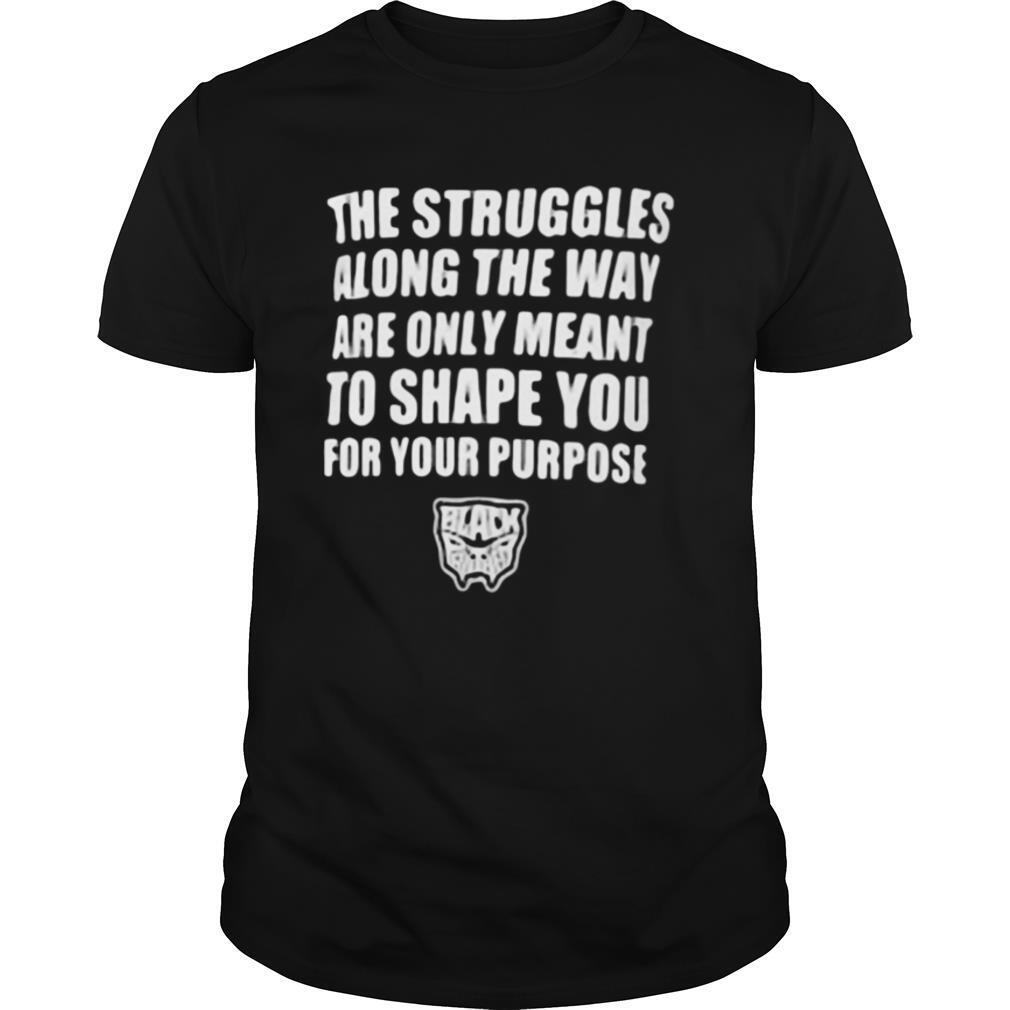 The struggles along the way are only meant to shape you for your purpose black panther rip chadwick 1976 2020 shirt