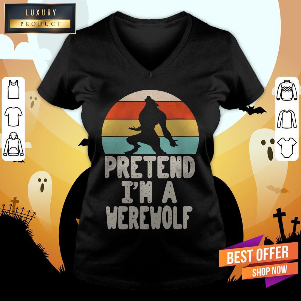 Werewolves Pretend I'M A Werewolf Vintage V-neck