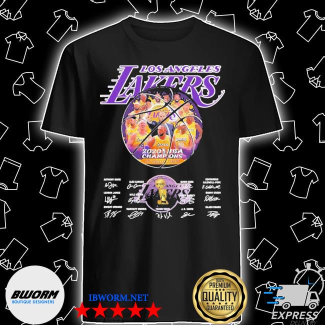 Los angeles lakers 2020 nba champions all players signatures shirt