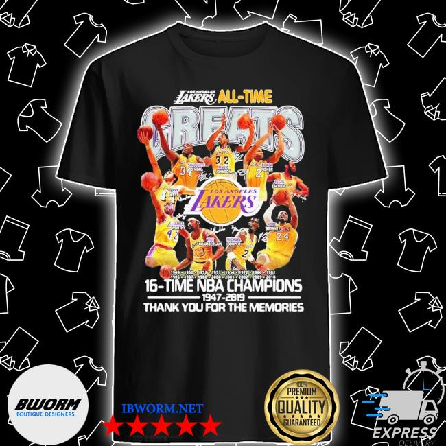 Los angeles lakers all time 17 time nba champions 1947-2020 thank you for the memories shirt