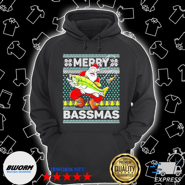 Merry bassmas fish santa christmas s Unisex Hoodie