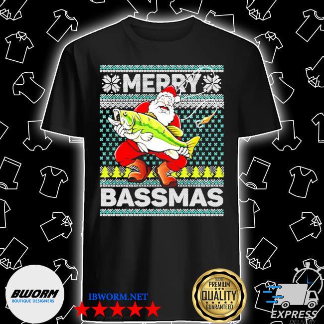 Merry bassmas fish santa christmas shirt