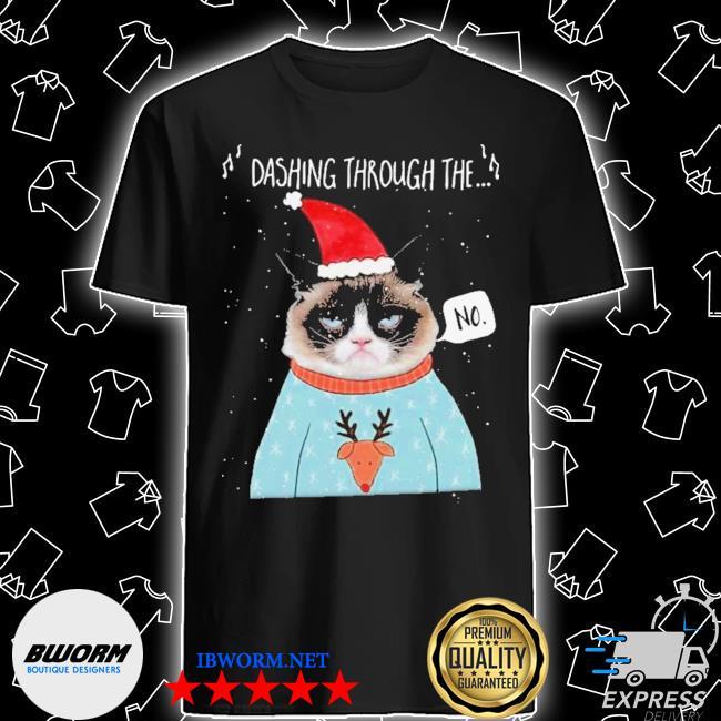Official cat santa dashing through the no merry christmas shirt