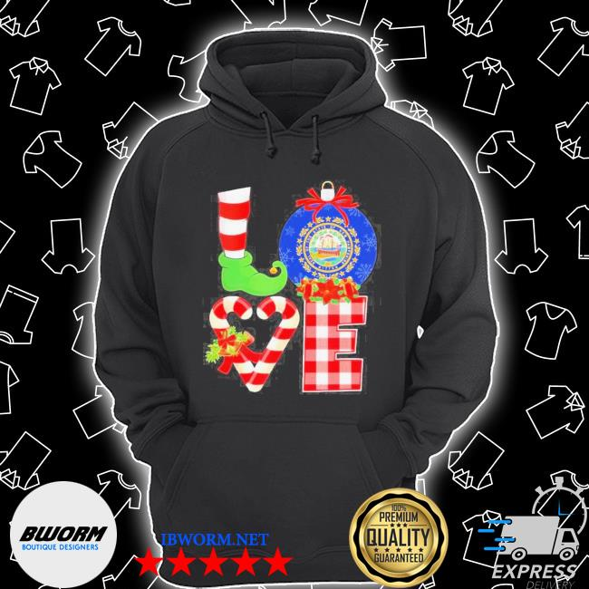 Official elf love seal of the state of hampshire 1776 christmas s Unisex Hoodie