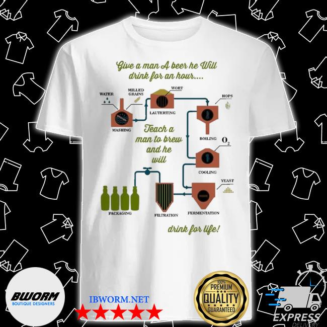 Official give a man a beer he will drink for an hour drink for life shirt