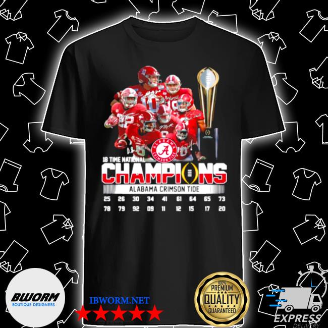 Alabama crimson tide 18 time national champions signatures shirt