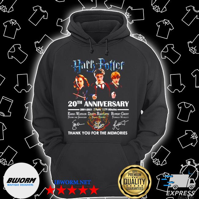Harry Potter 20th anniversary 2001 2021 thank you for the memories signature s Unisex Hoodie
