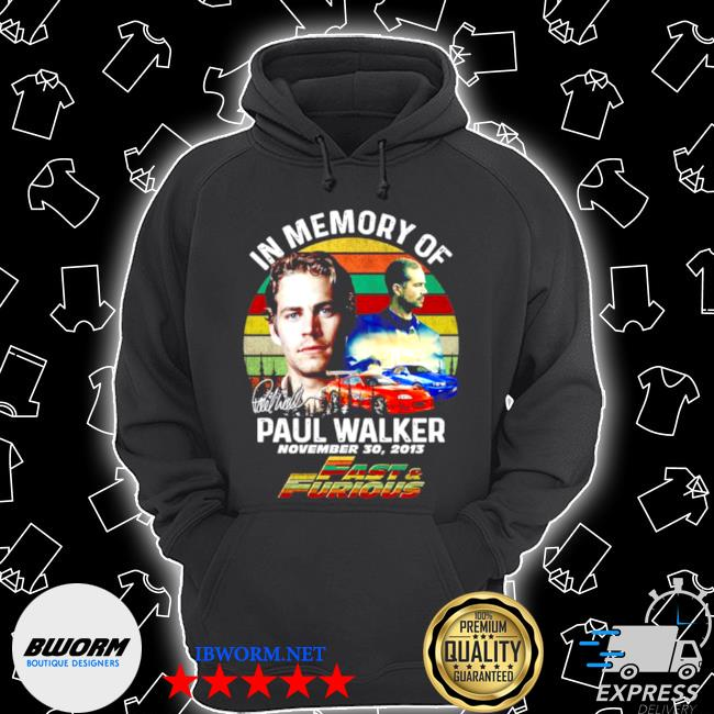 In memory of paul walker fast and furious signature vintage s Unisex Hoodie