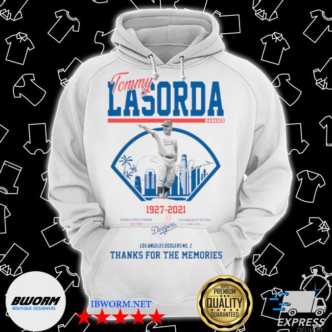 Los angeles Dodgers tommy lasorda manager 1927 2021 thank you for the memories signature s Classic Hoodie