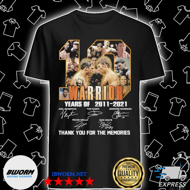 Official 10 warrior years of 2011 2021 signatures thank you for the memories shirt