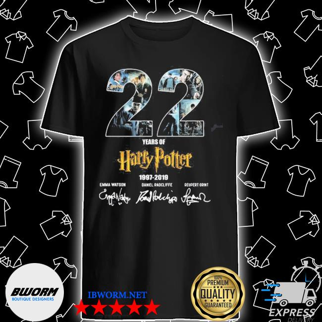 Official 22 years of harry potter 1997 2019 signatures shirt