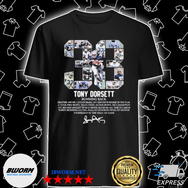 Official 33 tony dorsett running back signature shirt