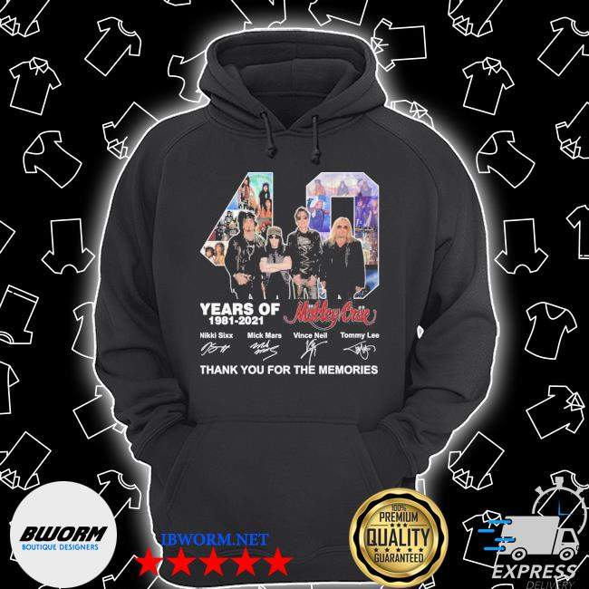 Official 40 years of motley crue 1981 2021 signatures thank you for the memories s Unisex Hoodie