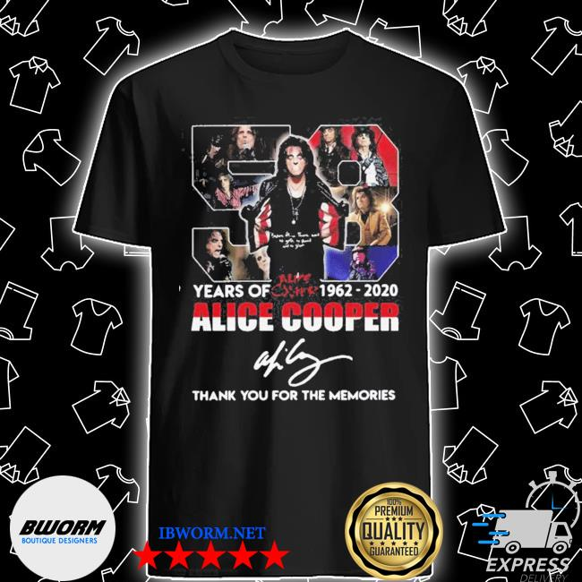 Official 58 years of 1962 2020 alice cooper thank you for the memories signature shirt