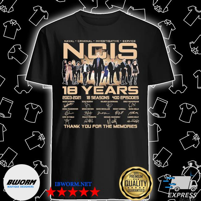 Official naval criminal ncis 18 years signatures thank you for the memories shirt