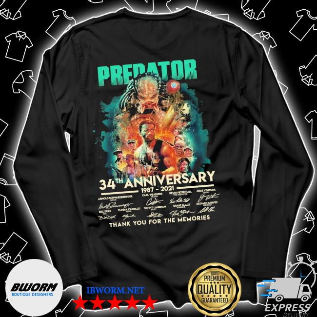 Predator 34th anniversary 1987 2021 signatures thank you for the memories s Unisex Long Sleeve Tee