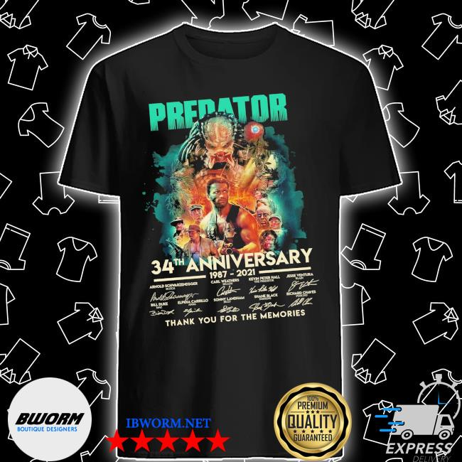 Predator 34th anniversary 1987 2021 signatures thank you for the memories shirt
