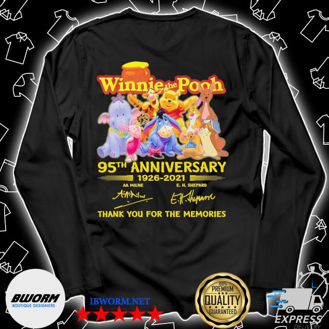 Winnie the Pooh 95th anniversary 1926 2021 signatures thank you for the memories s Unisex Long Sleeve Tee