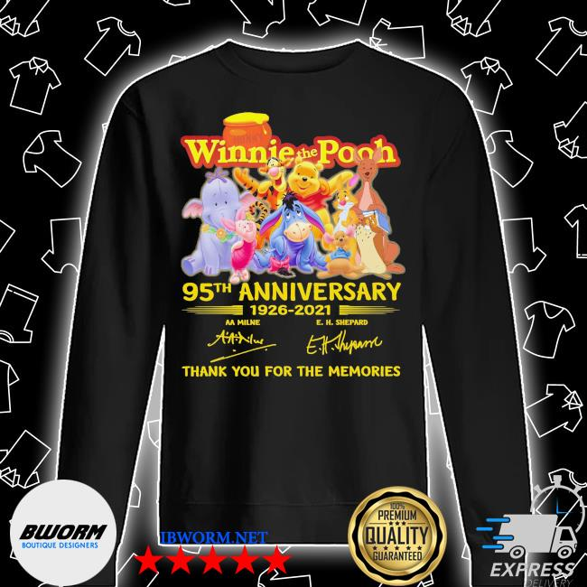 Winnie the Pooh 95th anniversary 1926 2021 signatures thank you for the memories s Unisex Sweatshirt
