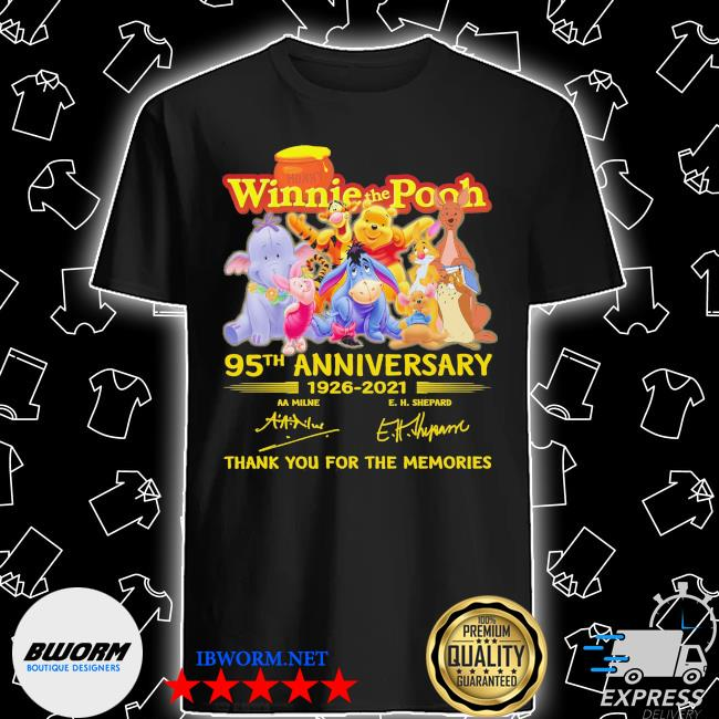 Winnie the Pooh 95th anniversary 1926 2021 signatures thank you for the memories shirt